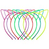 Candygirl Glow in Dark Cat Ear Plastic Hair Bands Noctilucence Headwear Accessories for Women Girls Daily Wearing and Party Decoration (Set of 6)