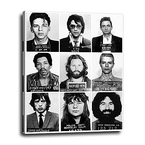 Musician Mugshots Canvas Wall Decor 16x20 - Vintage Poster Print Gift for Music Fan, Jerry Garcia, Frank Sinatra, David Bowie, Mick Jagger, Elvis, Jim Morrison, Janis Joplin, Jimi Hendrix, Johnny Cash