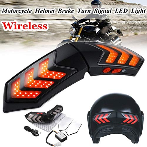 Hengyuanyi 12 V Inalámbrico Motocicleta Intermitente LED Freno Smart Casco Luz ABS Shell Seguridad Running Luces Indicadores de señal de Giro