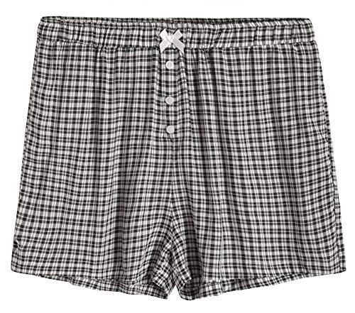 Latuza Women's Sleepwear Cotton Plaid Pajama Boxer Shorts XL Black