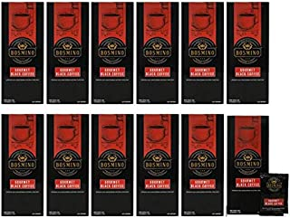 Bosmino 12 Boxes Arabica Black Coffee Cafe Nior Nero Ganoderma Coffee Sugar Free (1 Box: 30 Sachets)
