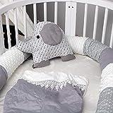 Parachoques de empalme de cama de bebé recién nacido, almohada larga para niños, cama anticolisión para dormir, parachoques trasero para habitación de niños, decoración de ropa de cama-Gris-240cm