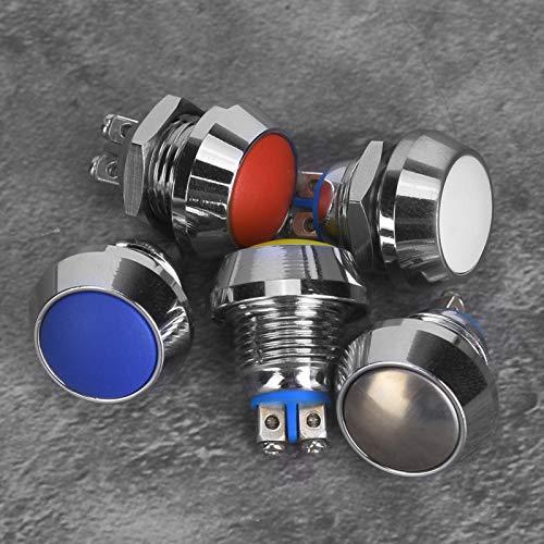Interruptor de reinicio Interruptor momentáneo Interruptor de botón pulsador 12 mm 2A / 36VDC 1NO, para interruptor de botón de bocina, para interruptor de apagado o cualquier circuito