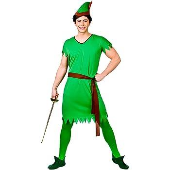 Peter Pan Robin Costume  Hood Adult Man Dress up Unisex Green Elf