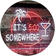 It's 5 pm Somewhere Bar Beer Cocktails Dual Color LED Neon Sign White & Red 400 x 300mm st6s43-i2090-wr