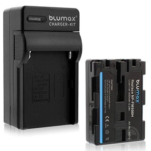Blumax NP-FM500H 1650mAh + Ladegerät NP-FM-500H | passend zu Sony Alpha A57 A58 A65 A65V A68 A77 A77V A99 A99 II UVM
