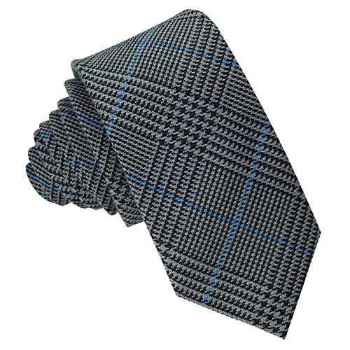 GASSANI Woll-Krawatte Kariert, Schmale Dünne Flanell Herren-Krawatte Wolle Baumwolle, Anthrazit-Graue Dunkel-Graue Schwarze Blaue Karos Streifen