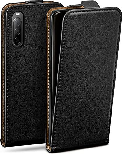 moex Flip Hülle für Sony Xperia 10 II - Hülle klappbar, 360 Grad Klapphülle aus Vegan Leder, Handytasche mit vertikaler Klappe, magnetisch - Schwarz