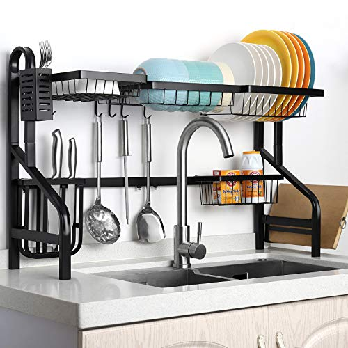 Dish Rack Over The Sink Width Adjustable 34quot ≤ Sink Size ≤ 44quot  2 Tier Large Dish Drainer Dish Drying Rack for Kitchen Supplies Storage Space Saver Shelf Holder with 5 Utility Hooks  Black