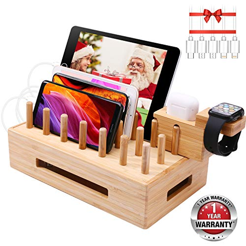 Bamboo Charging Station Organizer for Multiple Devices $14.25 (49% Off)