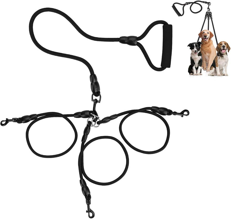COCOPET [New Version Heavy Duty Sturdy 3 Way Nylon No Tangle Bungee Dog Pet Coupler Leash Reflective, Adjustable No Pull Elastic Three Way Dog Trainnig Coupler, Jet Black (3 Way with Handle)