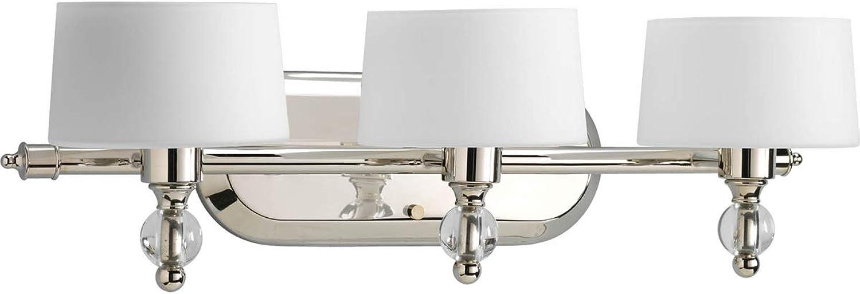 Progress Lighting P2927-104WB Fortune Collection 3-Light Vanity Fixture, Polished Nickel