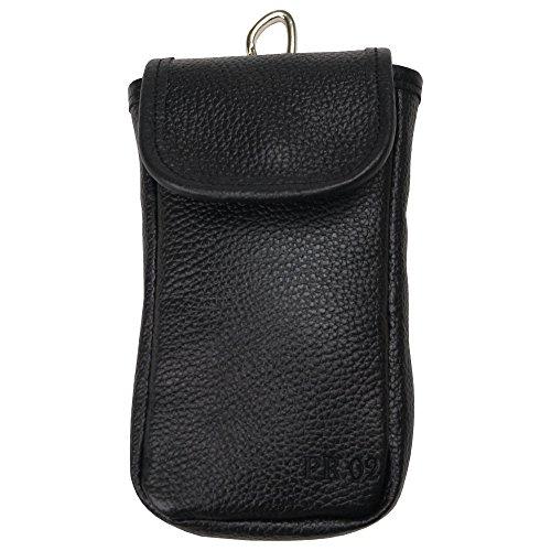 スマホポーチ ベルトポーチ メンズ 本革 レザー カラビナ カードポケット iPhone Plus/X 手帳型ケース対応 ブラック
