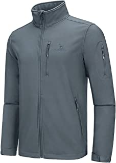 CAMEL CROWN Mens Softshell Jacket Fleece Lined Waterproof Windproof Lightweight Outerwear Full Zip Hiking Work Travel