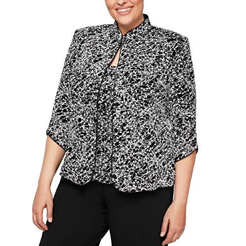 Alex Evenings Women's Plus Size Printed Mandarin Neck Twinset Tank Top and Jacket, Black/White, 2X