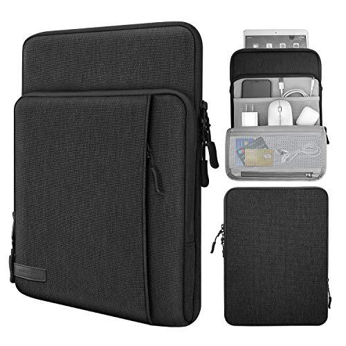 MoKo 9-11 Inch Tablet Sleeve Bag Carrying Case with Storage Pockets Fits iPad Pro 11, iPad 8th 7th Generation 10.2, iPad Air 4 10.9, Air 3 10.5, iPad 9.7, Galaxy Tab A 10.1, S6 Lite, S7 - Black & Gray