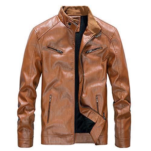 Chaqueta de piel para hombre con cuello alto y forro de felpa, estilo retro, duradera, ligera, marrón, L