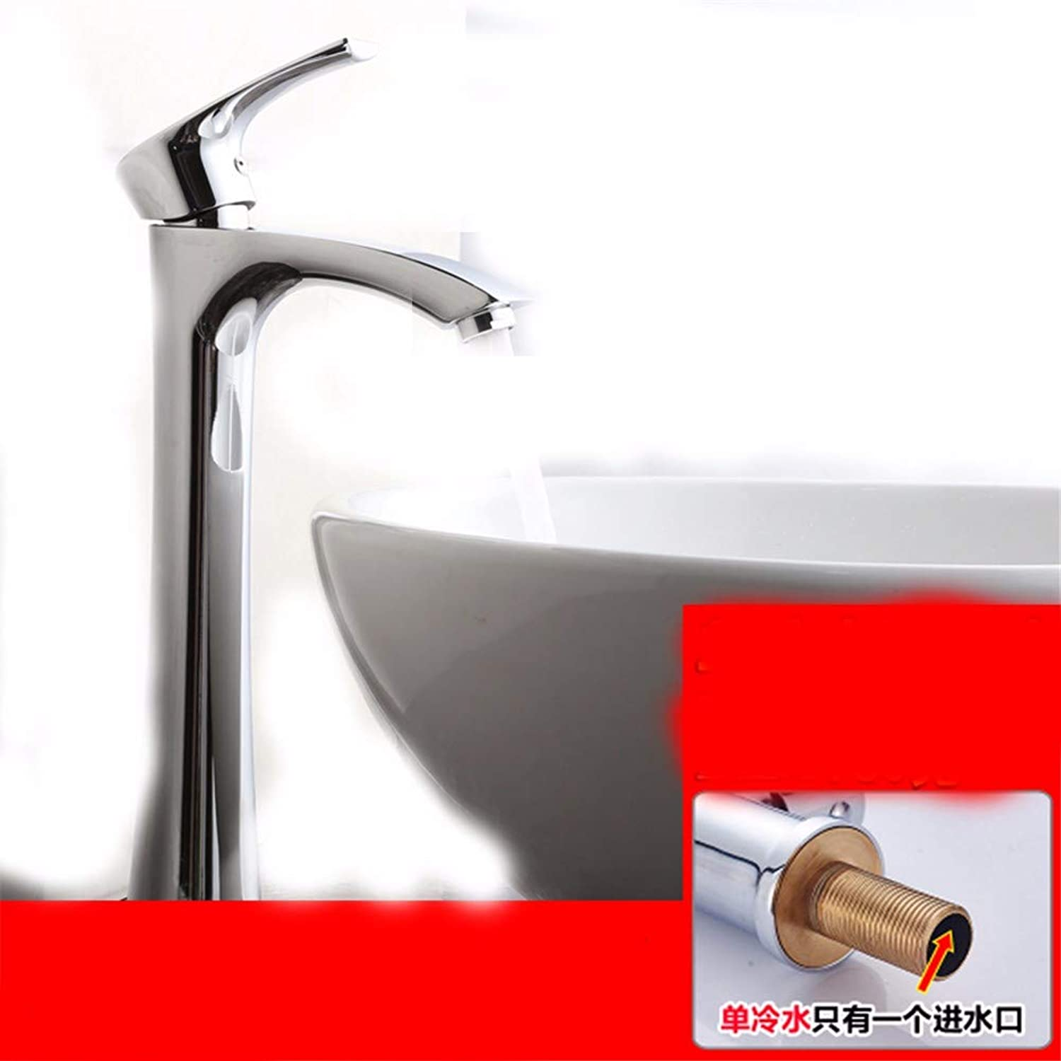 Chongxlgy-1 Faucet Hot and Cold Copper Single Cold Washbasin Above Counter Basin Wash Basin Faucet Single Hole Basin Basin, A Section Single Cold High Section
