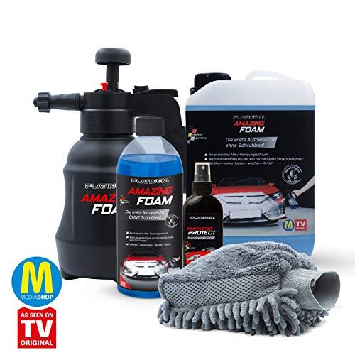 Mediashop Platinum Amazing Foam Set – Autoreiniger und Autopflege – entfernt hartnäckigen Schmutz und sorgt für Glanz – auch als Cockpit Reiniger – für alle Oberflächen