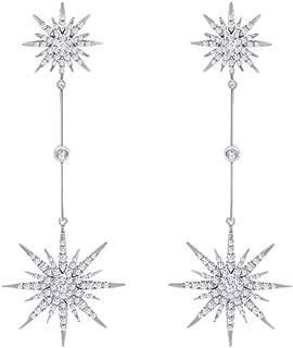 14K Solid Gold White Natural Diamond Starburst Dangle Stud Earrings