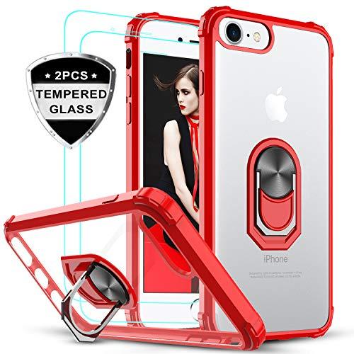 LeYi Funda iPhone SE 2020,Funda iPhone 7 / iPhone 8 con [2-Unidades] Cristal Vidrio Templado,Transparente Carcasa con 360 Grados iman Soporte Silicona Bumper Case para Movil iPhone 8,Clear Rojo