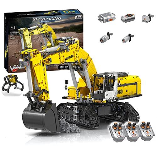 Amitas Technik Bagger Klemmbausteine Bauset, RC Bagger Bausteine mit Greifer, 6 Motoren und 3 Fernbedienungs Kompatibel mit Lego Technik - 2071 Teile