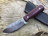 Perkin Damascus Steel Hunting Knife With Sheath Skinning & Bushcraft Knife - SK400