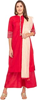 Haute Curry by Shoppers Stop Womens Banded Collar Embroidered Palazzo Suit_Red