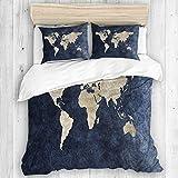 MAYBELOST Bedding Juego de Funda de Edredón,Impresión Azul de Las Ilustraciones del Mapa del Mundo Continental del océano Azul,Microfibra SIN Relleno,(Cama 140x200 + Almohada)
