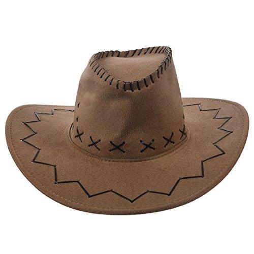 Sombrero - TOOGOO(R)Retro Unisex Sombreros accesorio del vestido de lujo de Rodeo de vaqueros de Oeste Salvaje de Mezclilla caqui