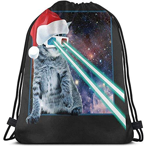 Bouia Backpack Laser Eye Cat In kerstmuts trekkoord rugzak lange levensduur grote capaciteit lichte casual sporttas riemtassen draagbare opbergtas