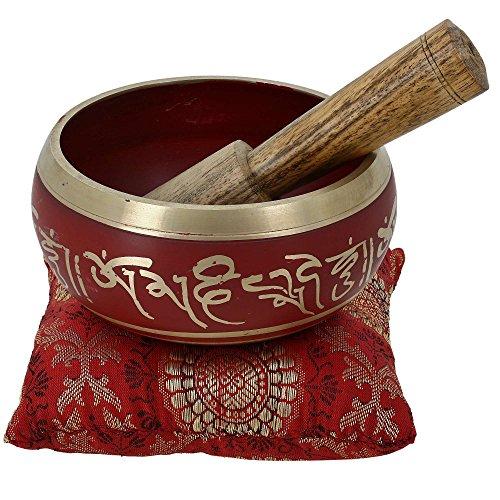 Meditación cuenco tibetano arte rojo decoración budista de 10 cm