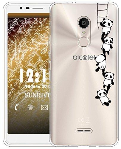 Sunrive Für Alcatel 3C Hülle Silikon, Transparent Handyhülle Schutzhülle Etui Hülle für Alcatel 3C(TPU Panda 1)+Gratis Universal Eingabestift