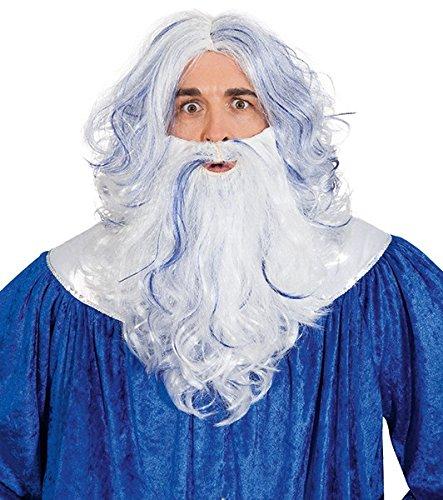 NEW Wig and beard Neptune, white-blue