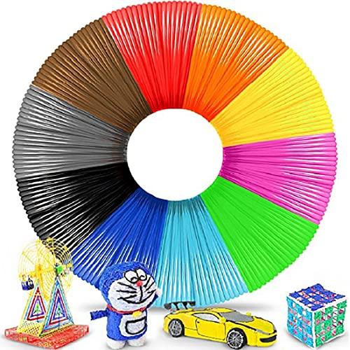 Retoo Filamento para lápices 3D PLA con 20 colores diferentes y 100 m de longitud, profesional, para niños, lápiz 3D de 1,75 mm, regalo para niñas y niños, adecuado para todos los lápices 3D