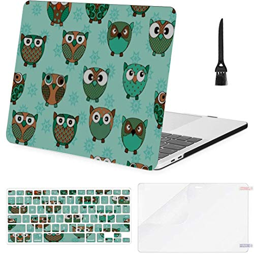 MacBook Pro Case Seamless Texture Cartoon Owls Baby Decoration MacBook Air 13' A1369/A1466 Plastic Case Keyboard Cover & Screen Protector & Keyboard