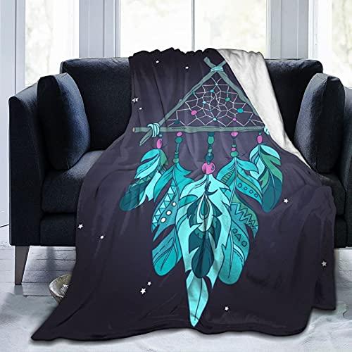 Manta super suave,Ilustración étnica del amuleto del cazador de sueños del vector, tribal,Manta de felpa suaves y esponjosa para sofá cama y sala de estar adecuada para todas las estaciones 150x125cm