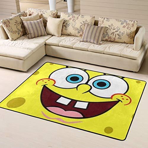 Ocsoc SpongeBob Super weicher Teppich Wohnzimmer Schlafzimmer Küche Kinderzimmer Bequem Art Deco Polyester Teppich 160 x 122 cm