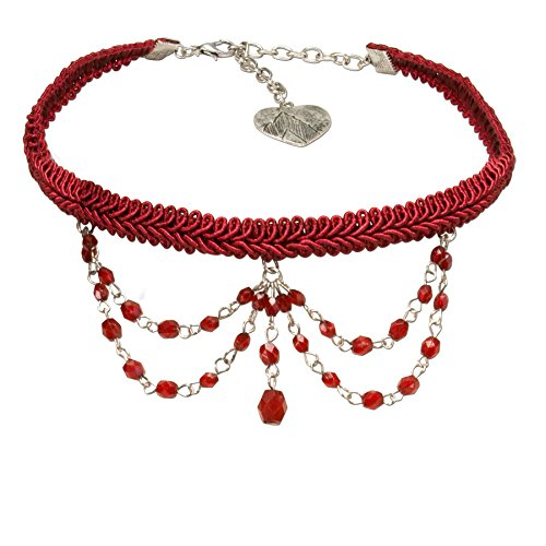 Alpenflüstern Trachten Borten-Kropfband Ida mit Perlen-Ketten - nostalgische Trachtenkette enganliegend, Elegante Kropfkette, Damen-Trachtenschmuck rot DHK188