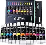 Set da Pittura ad Olio Ohuhu, 24 Tubetti da 12 ml, 24 Colori Vibranti a Base di Olio, Set per Artisti di Pittura ad Olio per Carta, Tela, Legno, Ceramica, Tessuto e Mestieri.