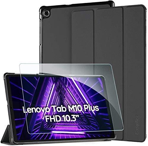 EasyAcc Funda Compatible con Lenovo Tab M10 FHD Plus 2nd Gen 10,3 Pulgadas con Cristal blindado Ultrafina con función Atril Encendido Apagado Automático, Negro