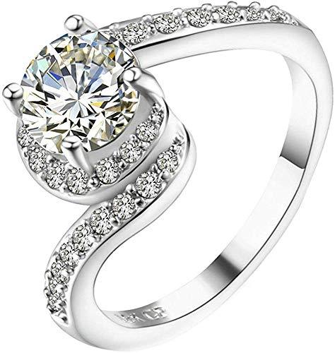 ZHJBD Fine Jewelry/Le Women Ring van witgoud, met briljant geslepen CZ