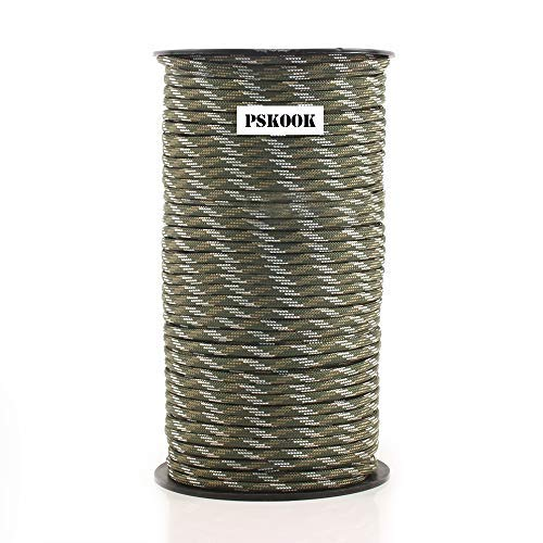 PSKOOK Paracord 550LB Multifunktion Paracord Rolle Zelt Seil Fallschirmschnur Paracord Ultimate Survival Parachute Cord Strapazierfähiges Lanyard 9 dreifach Stränge im Kern - 100m (Wald Camouflage)