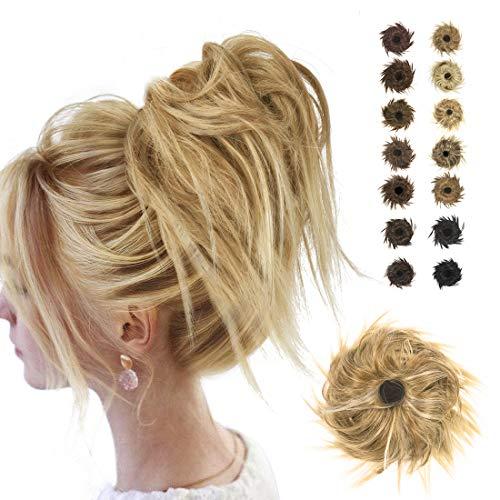 BARSDAR Pezzo di capelli disordinati da panino Hair Estensione dei capelli Scrunchies con elastico elastico arricciato Updo Chignon disordinato Capelli ricci sintetici Coda di cavallo