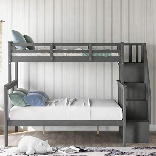 Stairway Twin-Over-Full Bunk Bed with Storage and Guard Rail for Bedroom, Dorm, for Kids, Adults (Gray)