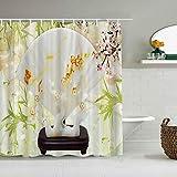 YiiHaanBuy Personalisierter Duschvorhang, Dekoration Pflaume Bambus Chinesisch Grün Blätter Weißer Hintergr&,wasserabweisender Badvorhang für das Badezimmer 180 x 210cm
