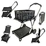 X-Truk Folding Shopping Cart Delivery Hand Truck Collapsible Utility Cart with 1 Storage Crate, Black