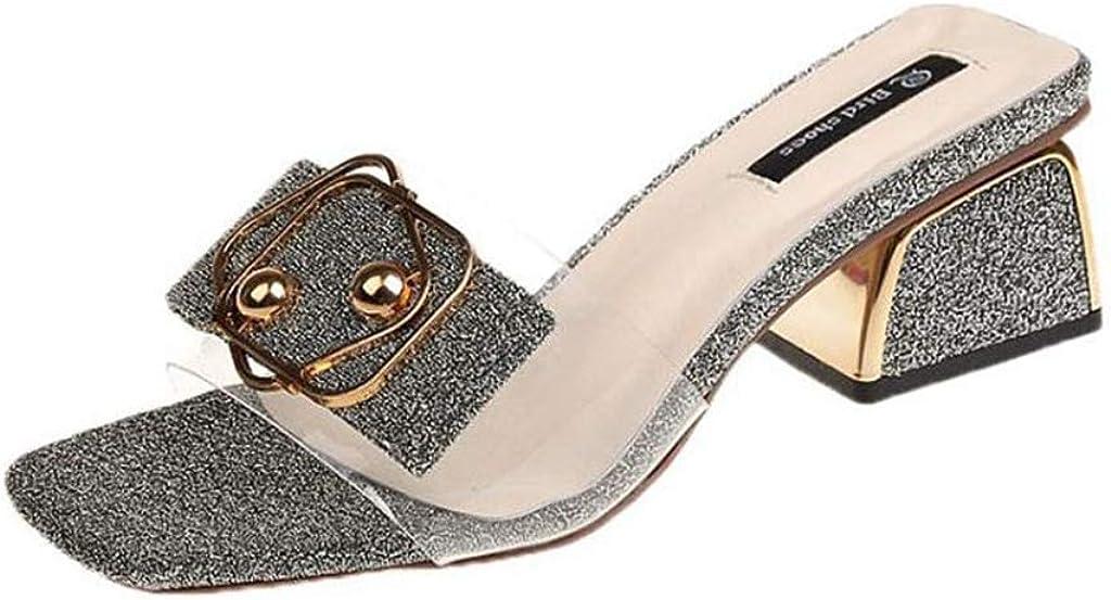 MIOKE Women's Glitter Low Block Heel Slide Sandals Clear Open Toe Comfort Slip On Mules Heeled Sandal