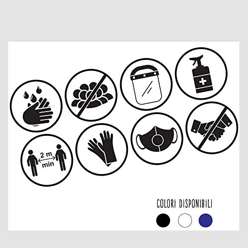 Pack 8 cartelli adesivi Covid 19 in VINILE prespaziato - Pack Regole di sicurezza - Kamiustore (Bianco)