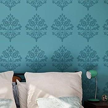 """Design: 48 x 68 cm motivo damascato: 21 x 18 cm. Stencil da parete con motivo damascato /""""019 Surman/"""" Formato: M medio Stencil: 50 x 70 cm"""